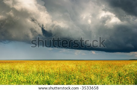 Summer landscape with meadow and storm clouds - stock photo