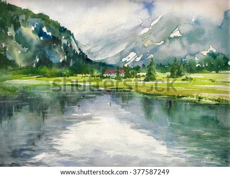 Summer landscape with mountain lake painted with watercolor - stock photo