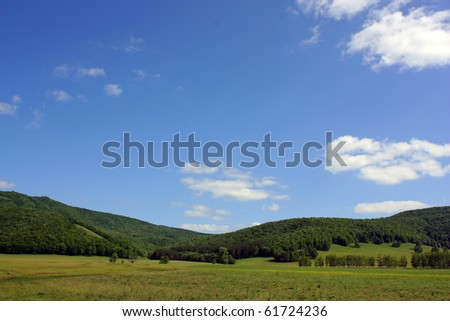 Summer landscape with mountains - stock photo