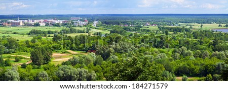 Summer landscape with  outskirts of Vladimir. Russia