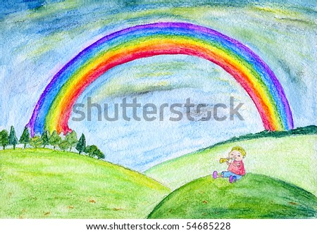 Summer landscape with rainbow and a boy