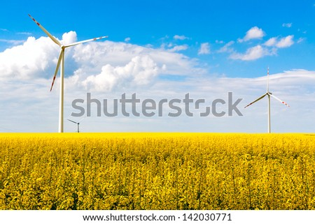 Summer landscape with rape and energy wind turbines farm
