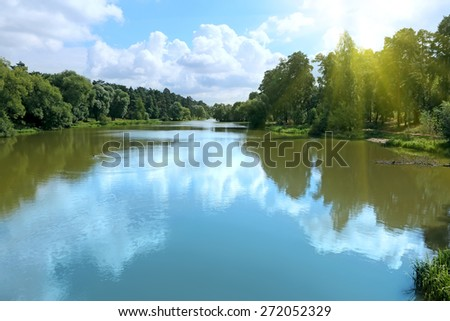 Summer landscape with river and forest on the coast - stock photo