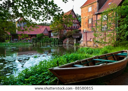 summer landscape with river, idyllic countryside scene - stock photo