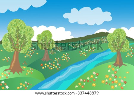 Summer landscape with river. Landscape scene. trees, sky, forest, flowers, clouds, river. Children's cartoon. image format