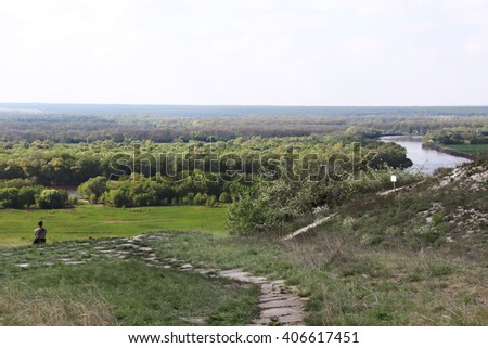 Summer landscape with rivers and hills - stock photo
