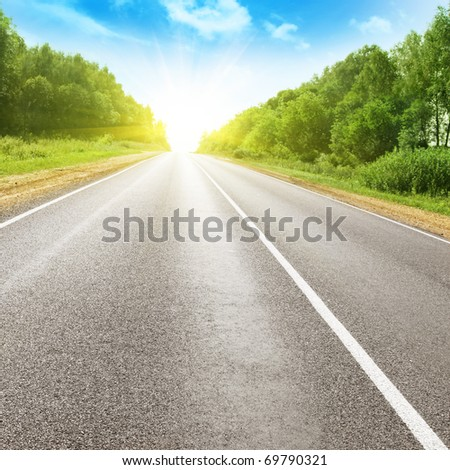 Summer landscape with road. - stock photo