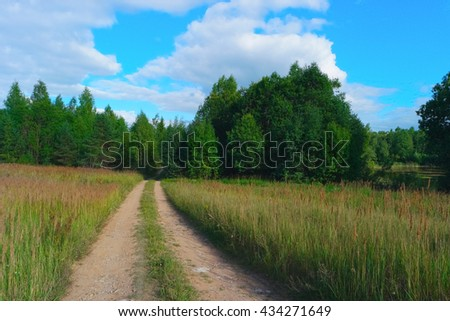 Summer landscape with sky, clouds, trees, grass and road - stock photo