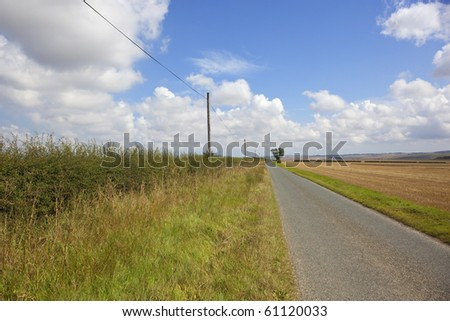 summer landscape with telegraph poles and wires by a lonely rural road