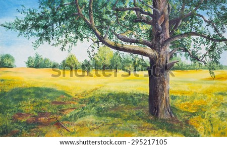 Summer landscape with tree. Oil painting - stock photo