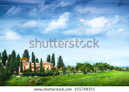 Summer landscape with villa. Italy, Tuscany - stock photo
