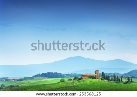 Summer landscape with villa on mountains background. Italy, Tuscany - stock photo