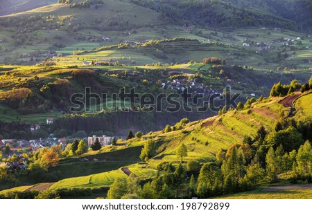 Summer landscape with village, Slovakia - stock photo