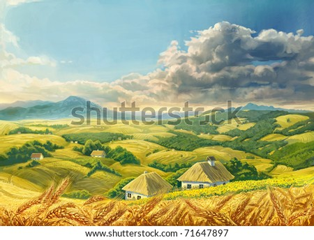 Summer Landscape with wheat - stock photo