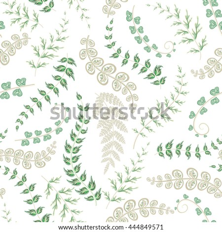 Summer leaves. Seamless hand painted pattern.  background. Delicate green leaves on white backdrop. - stock photo