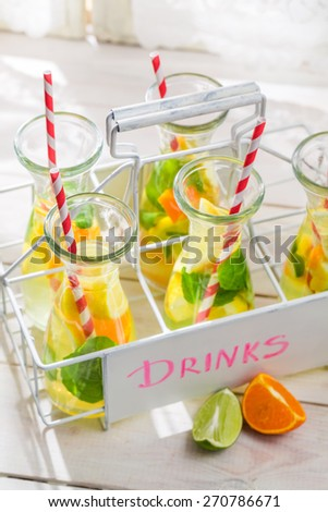 Summer lemonade with citrus fruits
