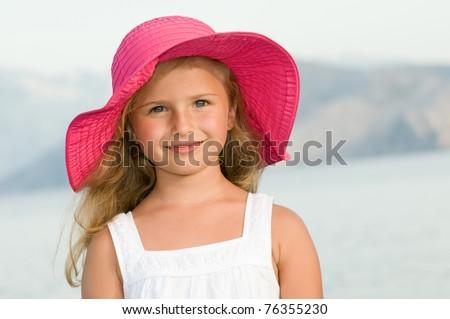 Summer little girl outdoor portrait - stock photo