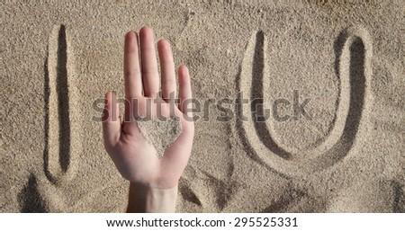 Summer love, I heart u written on the sand - stock photo