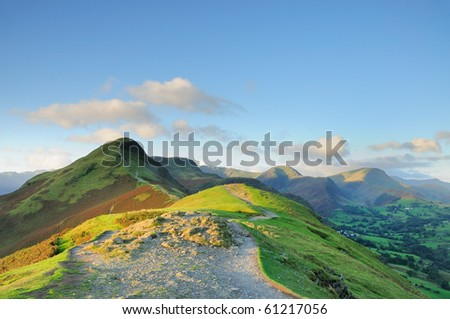 Summer morning light on Cat Bells in the English Lake District - stock photo