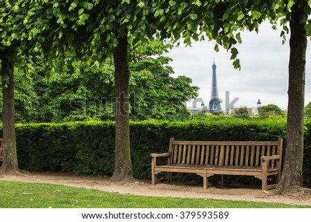 Summer morning view of Tuilleries garden in Paris, France.  - stock photo