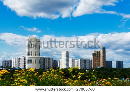summer Moscow cityscape with flowers at foreground