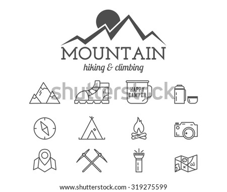 Summer mountain camp badge, logo template and label. Travel, hiking, climbing line icons. Thin and outline design. Best for adventure sites, travel blogs etc. On white background. . - stock photo