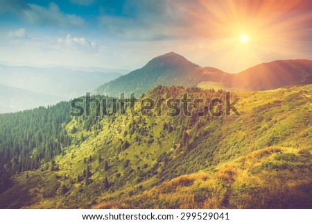 Summer mountain landscape at sunshine. Hiking trail in the hills. Filtered image:cross processed vintage effect. - stock photo