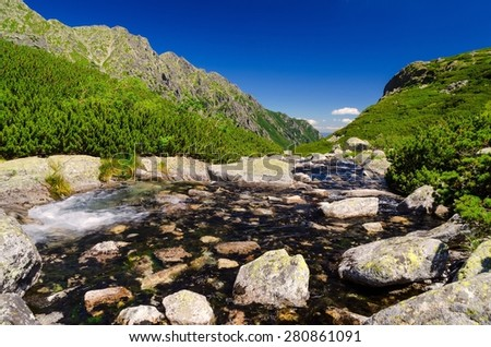 Summer mountain landscape. Picturesque view stretches over stream and rocky summits in the Five Pond Valley in Tatra mountains, Poland. - stock photo