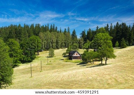Summer mountain landscape with clear sky - Moravian-Silesian Beskydy