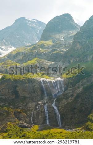 summer mountain scene - stock photo