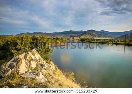 summer mountain sunset and blue sky landscape