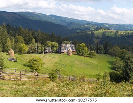 Summer mountainous green glade with small country estate (Slavske village, Carpathian Mts, Ukraine). Four shots composite picture.