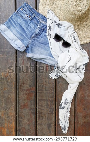 Summer music festival outfit - stock photo