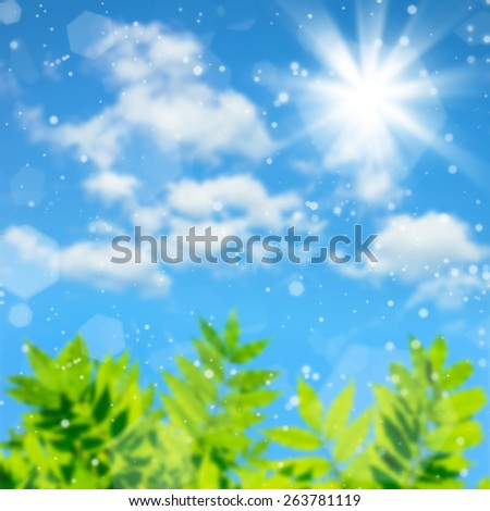Summer natural background with blurred leaves and sky - stock photo
