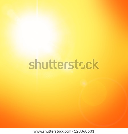 Summer natural background with sun and lens flare