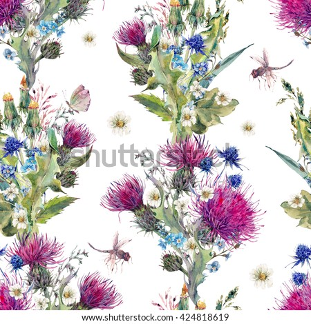 Summer natural meadow watercolor seamless floral pattern with wild flowers, thistles, dandelions, meadow herbs, chamomile and a dragonfly. Botanical floral Vintage isolated watercolor pattern - stock photo