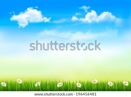 Summer nature background with green grass and sky. Raster version.