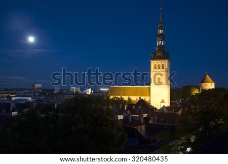 Summer Night on the Tallinn. View of the Church of St. Nicholas