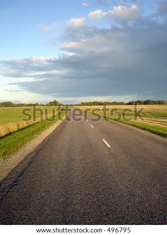 summer night road - stock photo