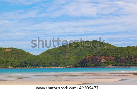 Summer of beautiful long beach with blue sky landscape