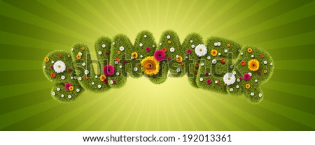 Summer of grass and flowers - stock photo