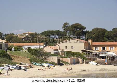 summer on the beach - french riviera - stock photo