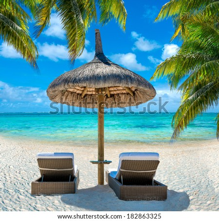 summer on the caribbean beach with palms, deckchairs and umbrella - stock photo