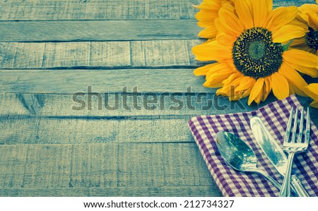 Summer Or Fall Picnic Place Setting With Sunflower On Rustic Wood Board Background Room