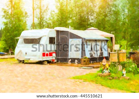 Summer outdoor recreation, Scandinavian vacation in house on wheels. Camping vans and tents parked on a green meadow in campsite among trees. Campsite, Finland, Suomi. Photo stylized pictorial - stock photo