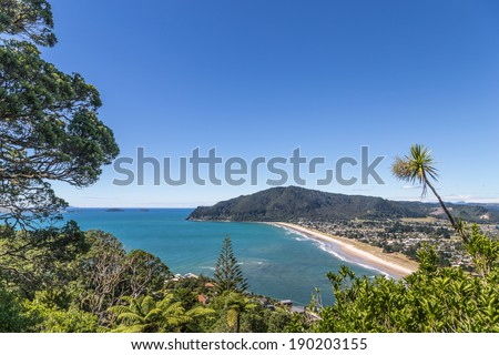 Summer pacific landscape on The Coromandel, New Zealand - stock photo