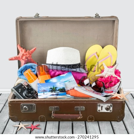 Summer, packed, bag. - stock photo