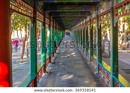 Summer Palace scene- Long Corridor. Summer Palace located in Beijing of China. It was royal garden