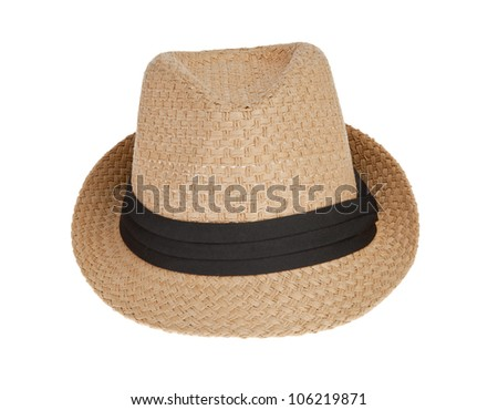 Summer panama straw hat - stock photo