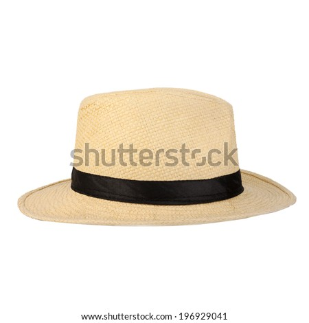 Summer panama straw hat isolated on white - stock photo